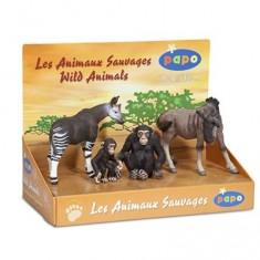 Figurine Animaux sauvages : Coffret : Okapi, Chimpanzés, Gnou