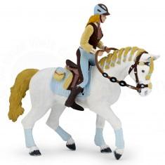 Figurine cheval de la cavalière adulte fashion bleue