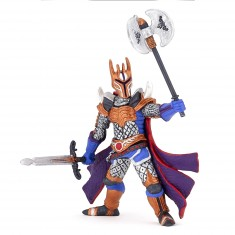 Figurine chevalier triple hache argent