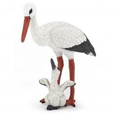 Figurine Cygogne et son bébé