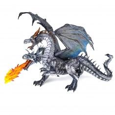 Figurine dragon à deux têtes argenté