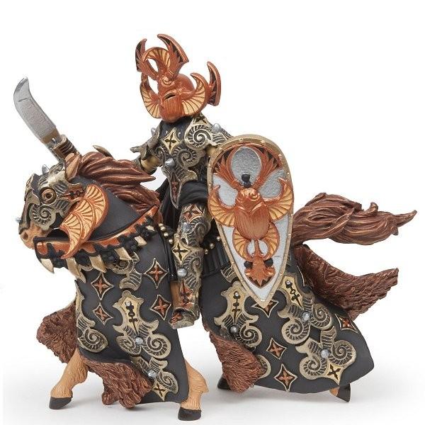 Figurines Guerrier scarabée noir/ocre et son cheval - Papo-38986