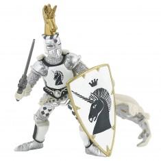 Figurine Maître des armes cimier licorne argentée