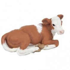 Figurine vache Simmental : Veau couché
