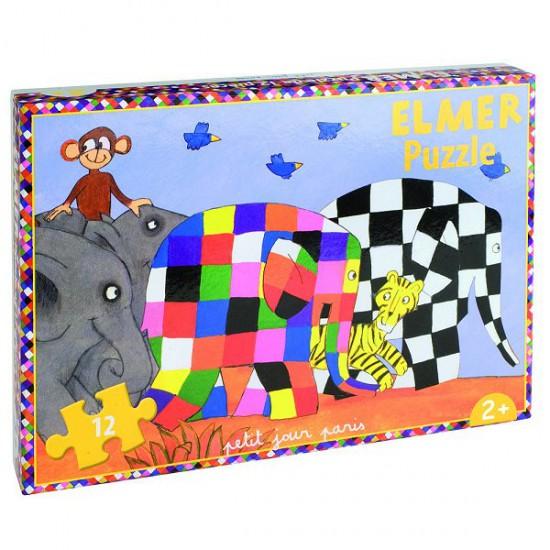 Puzzle 12 pièces : Elmer et ses amis - Petitjour-EL408D