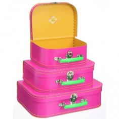 Set de 3 valises - Carton rose