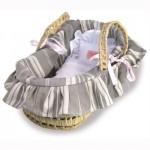 Couffin garnissage rayures réversibles pour poupée de 28 cm