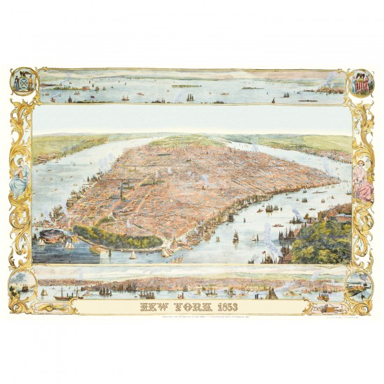 Puzzle 1000 pièces : Plan de New-York en 1853 - Piatnik-5429