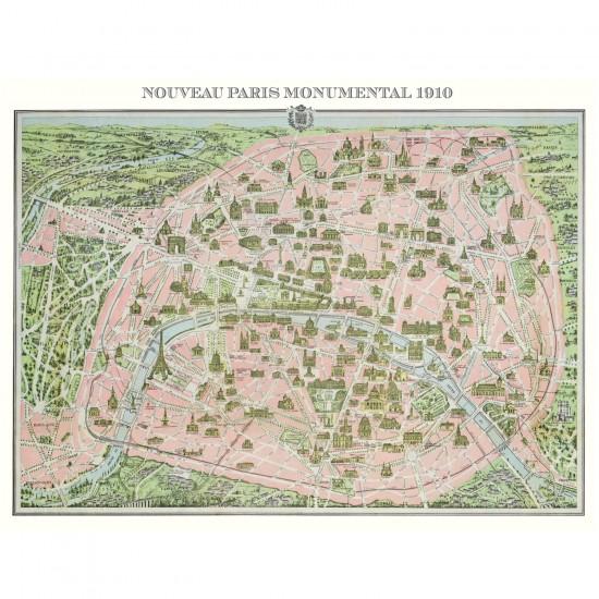Puzzle 1000 pièces : Plan de Paris en 1910 - Piatnik-5428
