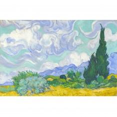 Puzzle 1000 pièces : Van Gogh : Champ de blé avec cyprès