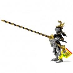 Figurine Chevalier au cimier dragons noir et or (sans cheval)
