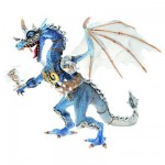 Figurine Dragon en armure gris translucide et bleu