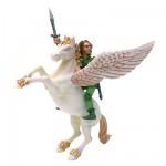 Figurine Pégase avec l'elfe cavalier
