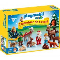 Playmobil 5497 - 1.2.3 - Calendrier de l'avent : Père Noël et les animaux de la forêt