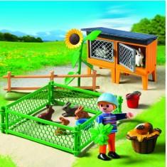 Playmobil 5123 : Enclos à lapins et enfant
