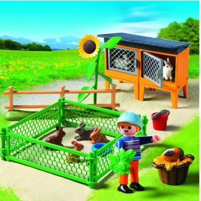 Playmobil 5123 : Enclos à lapins et enfant - Playmobil-5123