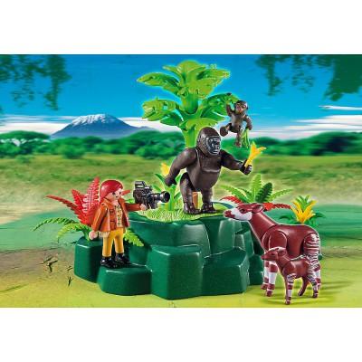 Playmobil 5415 : Gorilles et okapis avec végétation - Playmobil-5415
