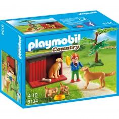Playmobil 6134 : Country : Enfant avec famille de goldens retriever