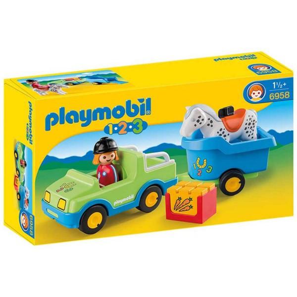 Playmobil 6958 : 1.2.3 : Véhicule avec remorque à cheval - Playmobil-6958