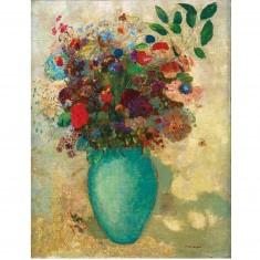 Puzzle d'art en bois 150 pièces Michèle Wilson - Redon : Fleurs dans un vase turquoise
