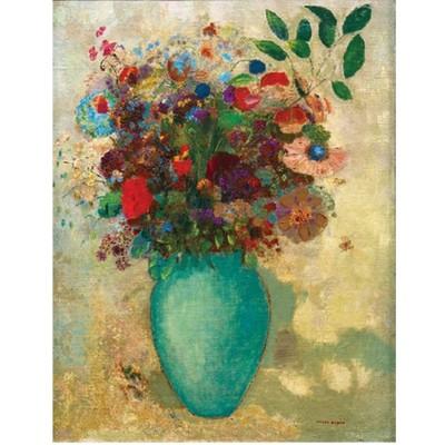 puzzle d 39 art en bois 150 pi ces mich le wilson redon fleurs dans un vase turquoise puzzle. Black Bedroom Furniture Sets. Home Design Ideas