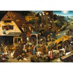 Puzzle d'art en bois 650 pièces Michèle Wilson - Brueghel : Proverbes flamands