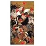 Puzzle d'art en bois 150 pièces Michèle Wilson - Art Japonais : Coqs et Poules