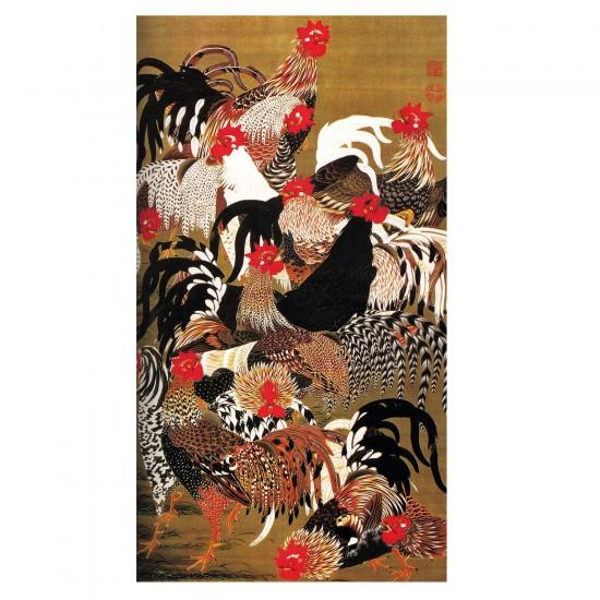 Puzzle d'art en bois 150 pièces Michèle Wilson - Art Japonais : Coqs et Poules - PMW-A177-150