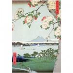 Puzzle d'art en bois 150 pièces Michèle Wilson - Hiroshige : Pommiers en fleurs