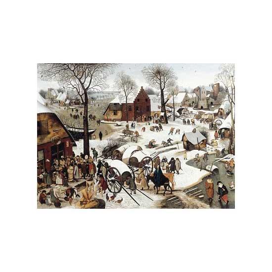 Puzzle d'art en bois 200 pièces Michèle Wilson-Grosses Pièces- Brueghel:Le  dénombrement de Bethléem - PMW-H58-200