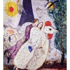 Puzzle d'art en bois 250 pièces Michèle Wilson - Chagall : Les mariés de la Tour Eiffel