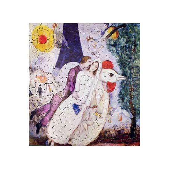 Puzzle d'art en bois 250 pièces Michèle Wilson - Chagall : Les mariés de la Tour Eiffel - PMW-A956-250