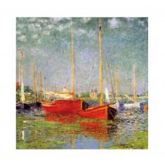 Puzzle d'art en bois 30 pièces Michèle Wilson - Monet : Bateaux rouges