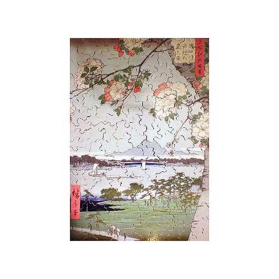 Puzzle d'art en bois 350 pièces Michèle Wilson  -  Hiroshige  :  Pommiers en fleurs - PMW-A974-350