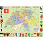 Puzzle d'art en bois 50 pièces Michèle Wilson : Carte de la Suisse