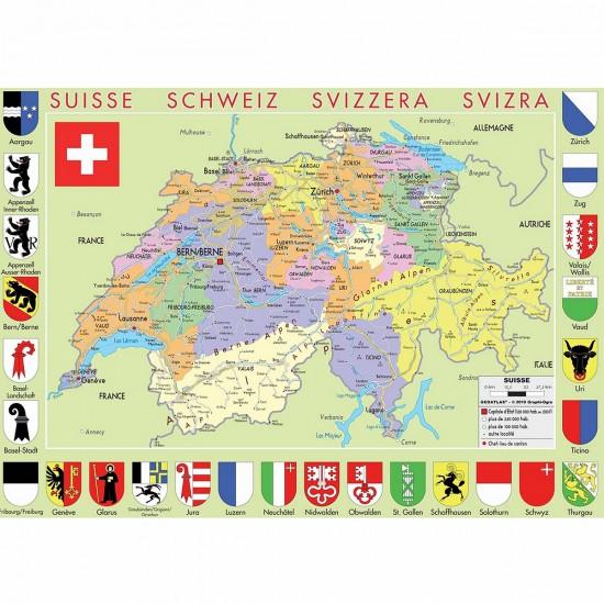 Puzzle d'art en bois 50 pièces Michèle Wilson : Carte de la Suisse - PMW-W77-50