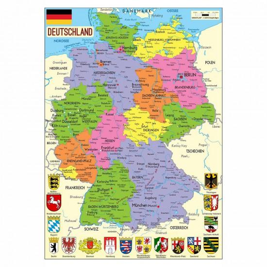 Puzzle d'art en bois 50 pièces Michèle Wilson : Carte de l'Allemagne - PMW-W73-50