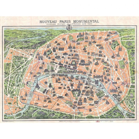 Puzzle d'art en bois 500 pièces Michèle Wilson : Plan de Paris monumental - PMW-A329-500