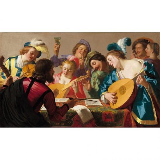 Puzzle d'art en bois 650 pièces : Van Honthorst : Le concert - PMW-A250-650