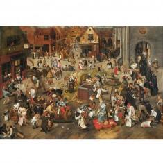 Puzzle d'art en bois 750 pièces Michèle Wilson : Brueghel : Le combat de Carnaval et Carême