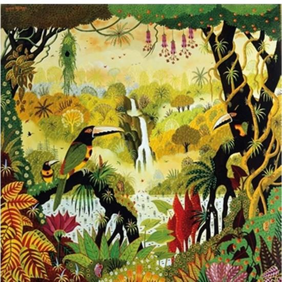 Puzzle d'art en bois 80 pièces Michèle Wilson - Alain Thomas : Toucan à la cascade - PMW-A850-80