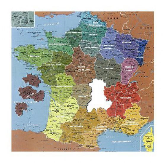 Puzzle en bois - Art  Maxi 100 pièces - Géographie : Carte de France, 1 pièce = 1 département - PMW-W50-100