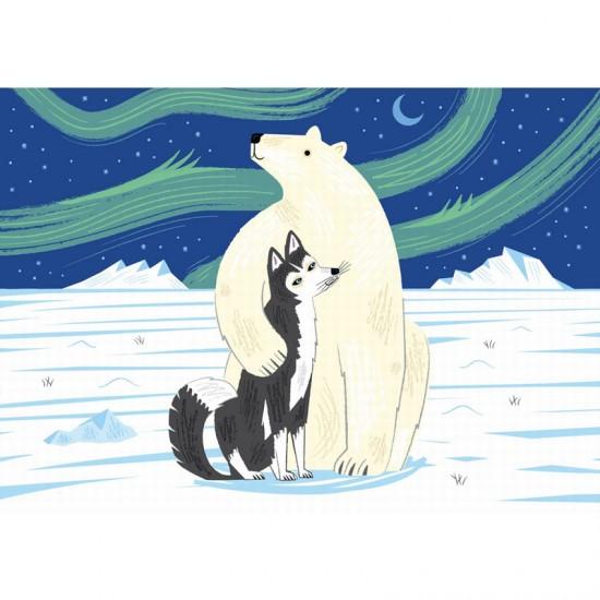 Puzzle en bois Art Maxi 12 pièces : Lake : L'ours et le husky - PMW-W160-12