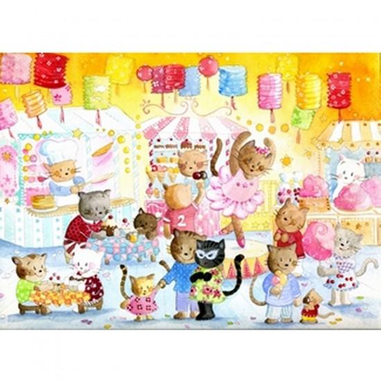 Puzzle en bois - Art Maxi 12 pièces - Barcilon :  La fête des chats - PMW-W150-12