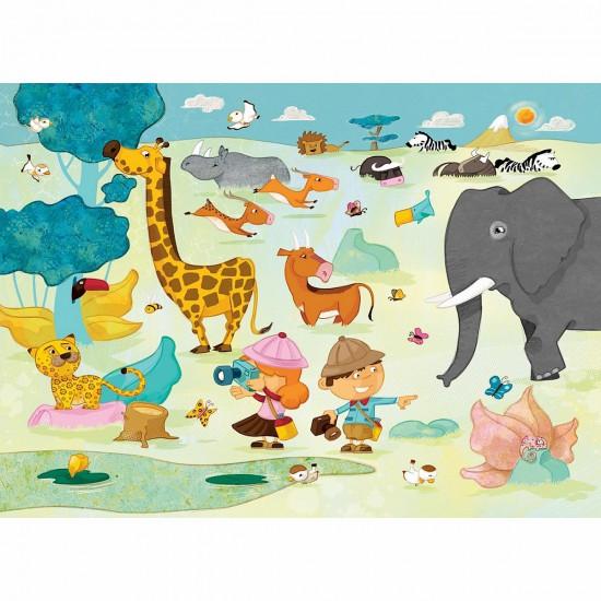 Puzzle en bois Art maxi 24 pièces : Huette : Safari photo - PMW-W201-24