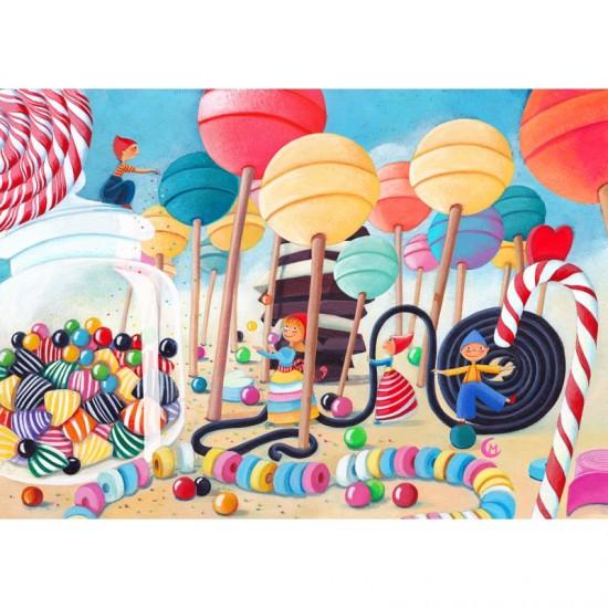 Puzzle en bois Art Maxi 50 pièces : Cardouat : Le pays des bonbons - PMW-W149-50
