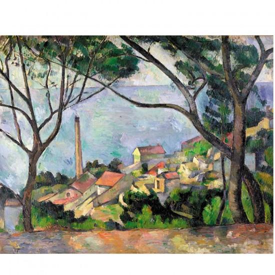 Puzzle en bois Art maxi 50 pièces : Cezanne : Vue sur l'Estaque - PMW-W531-50