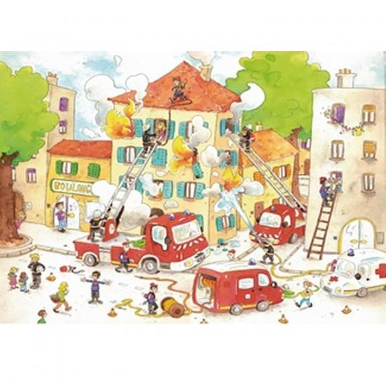 Puzzle en bois - Art maxi 50 pièces - Cacouault : Les Pompiers - PMW-W113-50