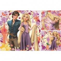 Puzzle 3 x 49 pièces - Disney Raiponce : Princesse Raiponce et Flynn Rider