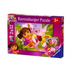 2 puzzles 12 pièces : Dora et Babouche